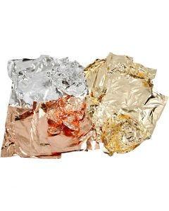 Bladmetal, 16x16 cm, kobber, guld, sølv, 3x50 ark/ 1 pk.