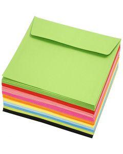 Kulørte kuverter, kuvert str. 16x16 cm, 80 g, ass. farver, 10x10 stk./ 1 pk.