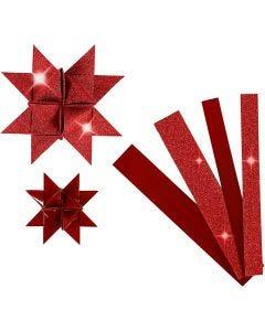 Stjernestrimler, L: 44+78 cm, diam. 6,5+11,5 cm, B: 15+25 mm, glitter,lak, rød, 40 strimler/ 1 pk.