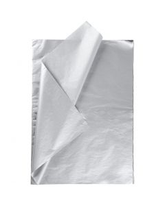 Silkepapir, 50x70 cm, 14 g, sølv, 25 ark/ 1 pk.