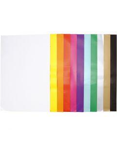 Glanspapir, 32x48 cm, 80 g, ass. farver, 11x25 ark/ 1 pk.