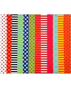 Glanspapir, mønstret, 24x32 cm, 80 g, ass. farver, 50 ass. ark/ 1 pk.