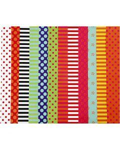 Glanspapir, mønstret, 32x48 cm, 80 g, ass. farver, 100 ass. ark/ 1 pk.