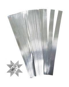 Stjernestrimler, L: 45 cm, diam. 6,5 cm, B: 15 mm, sølv, 100 strimler/ 1 pk.