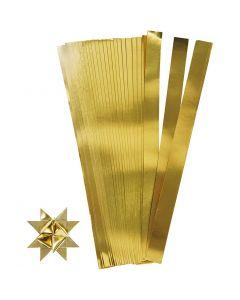 Stjernestrimler, L: 45 cm, diam. 6,5 cm, B: 15 mm, guld, 100 strimler/ 1 pk.