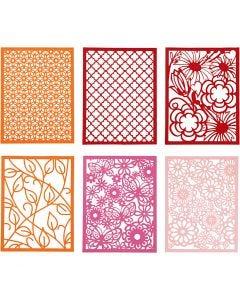 Blondekarton i blok, A6, 104x146 mm, 200 g, orange, pink, rosa, rød, 24 stk./ 1 pk.