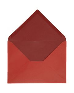 Kuvert, kuvert str. 11,5x16 cm, 100 g, rød/vinrød, 10 stk./ 1 pk.