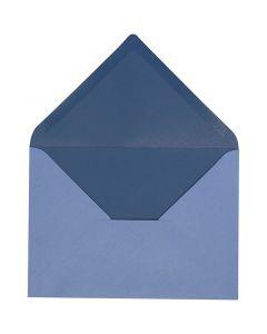 Kuvert, kuvert str. 11,5x16 cm, 100 g, lys blå/mørk blå, 10 stk./ 1 pk.