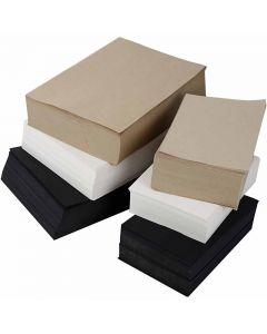 Karduspapir, A3,A4, 100 g, sort, grå, gråbrun, hvid, 6000 ass. ark/ 1 pk.