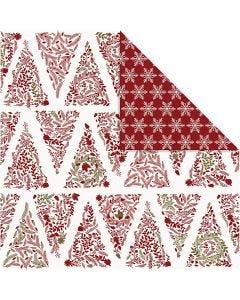Designpapir, juletræer og stjerner, 30,5x30,5 cm, 180 g, guld, rød, hvid, 3 ark/ 1 pk.