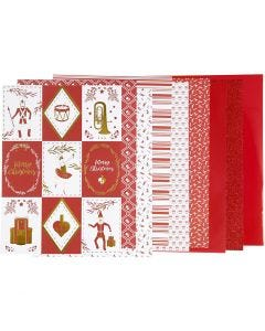 Designpapir i blok, str. 21x30 cm, 120+128 g, rød, hvid, 24 ark/ 1 pk.