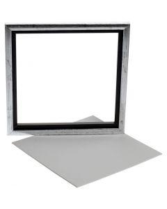 Svæveramme m. malerplade, dybde 1,5 cm, str. 25x25 cm, hvid, 1 stk.