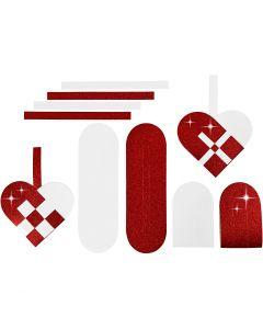 Flettede julehjerter, str. 14,5x10 cm, 120+128 g, rød, hvid, 8 sæt/ 1 pk.