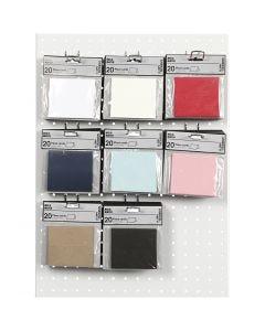 Bordkort, str. 9x4 cm, 220 g, ass. farver, 8x10 pk./ 1 pk.