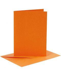 Kort og kuverter, kort str. 10,5x15 cm, kuvert str. 11,5x16,5 cm, orange, 6 sæt/ 1 pk.