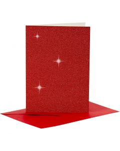 Kort og kuverter, kort str. 10,5x15 cm, kuvert str. 11,5x16,5 cm, glitter, rød, 4 sæt/ 1 pk.
