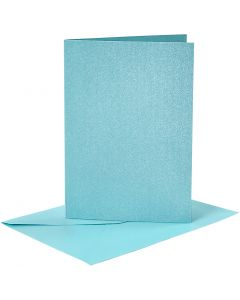 Kort og kuverter, kort str. 10,5x15 cm, kuvert str. 11,5x16,5 cm, perlemor, blå, 4 sæt/ 1 pk.