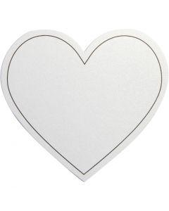 Hjerte, str. 75x69 mm, 120 g, hvid, 10 stk./ 1 pk.
