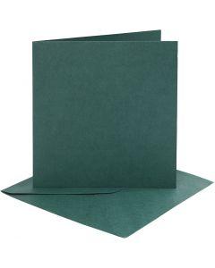Kort og kuverter, kort str. 15,2x15,2 cm, kuvert str. 16x16 cm, 230 g, mørk grøn, 4 sæt/ 1 pk.
