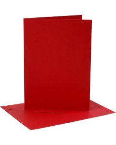 Kort og kuverter, kort str. 12,7x17,8 cm, kuvert str. 13,3x18,5 cm, 230 g, rød, 4 sæt/ 1 pk.