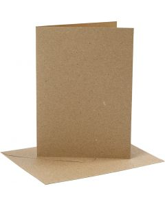 Kort og kuverter, kort str. 12,7x17,8 cm, kuvert str. 13,3x18,5 cm, 230 g, natur, 4 sæt/ 1 pk.
