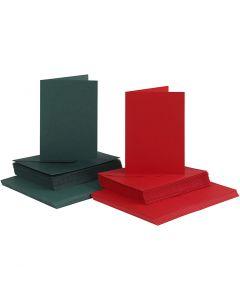 Kort og kuverter, kort str. 10,5x15 cm, kuvert str. 11,5x16,5 cm, 110+230 g, grøn, rød, 50 sæt/ 1 pk.
