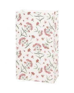 Papirposer, blomster, H: 21 cm, str. 6x12 cm, 80 g, 8 stk./ 1 pk.