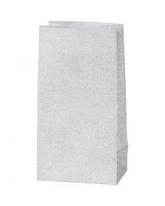 Papirposer, H: 17 cm, str. 6x9 cm, 120 g, sølv, 8 stk./ 1 pk.