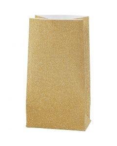 Papirposer, H: 17 cm, str. 6x9 cm, 170 g, guld, 8 stk./ 1 pk.