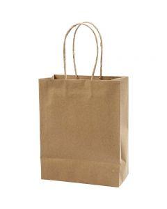 Papirposer, H: 23 cm, B: 18x9 cm, 125 g, brun, 10 stk./ 1 pk.