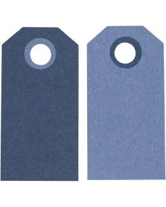 Manilamærker, str. 6x3 cm, 250 g, mørk blå/lys blå, 20 stk./ 1 pk.