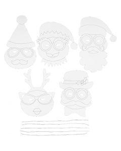 Julemasker, H: 25-35 cm, B: 20 cm, 230 g, hvid, 16 stk./ 1 pk.