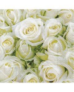 Servietter, Hvide roser, str. 33x33 cm, 20 stk./ 1 pk.