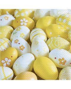 Servietter, malede æg, str. 33x33 cm, 20 stk./ 1 pk.