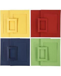 Passepartoutrammer, str. A4+A6 , blå, grøn, rød, gul, 2x60 stk./ 1 pk.