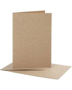 Brevkort med kuvert, kort str. 10,5x15 cm, kuvert str. 11,5x16,5 cm, natur, 10 sæt/ 1 pk.