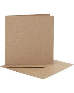 Brevkort med kuvert, kort str. 12,5x12,5 cm, kuvert str. 13,5x13,5 cm, natur, 10 sæt/ 1 pk.