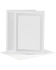 Kort til broderi, kort str. 10,5x15 cm, kuvert str. 11,5x16,5 cm, hvid, 6 stk./ 1 pk.
