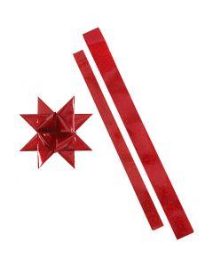 Stjernestrimler, L: 86+100 cm, diam. 11,5+18,5 cm, B: 25+40 mm, rød, rød glitter, 16 strimler/ 1 pk.