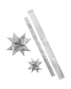 Stjernestrimler, L: 86+100 cm, B: 25+40 mm, diam. 11,5+18,5 cm, sølv glitter, 16 strimler/ 1 pk.