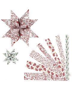 Stjernestrimler, L: 44+78 cm, diam. 6,5+11,5 cm, B: 15+25 mm, rød, hvid, 48 strimler/ 1 pk.