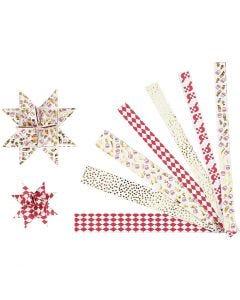 Stjernestrimler, L: 44+78 cm, diam. 6,5+11,5 cm, B: 15x25 mm, guld, rød, hvid, 48 strimler/ 1 pk.