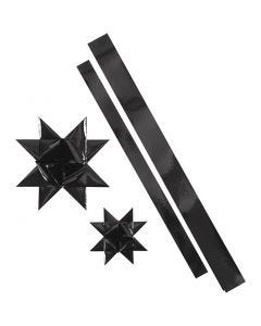 Stjernestrimler, L: 86+100 cm, diam. 11,5+18,5 cm, B: 25+40 mm, sort, 16 strimler/ 1 pk.
