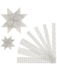Stjernestrimler, L: 44+78 cm, B: 15+25 mm, diam. 6,5+11,5 cm, sølv, hvid, 48 strimler/ 1 pk.