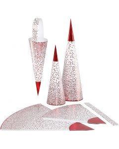 Kræmmerhuse , H: 18+28 cm, 120 g, rød, hvid, 3 stk./ 1 pk.