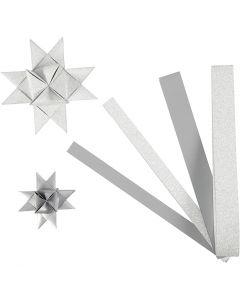 Stjernestrimler, L: 44+78 cm, diam. 6,5+11,5 cm, B: 15+25 mm, glitter,lak, sølv, 40 strimler/ 1 pk.