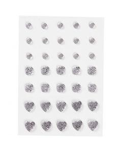 Rhinsten, rund, firkant, hjerte, str. 6+8+10 mm, sølv, 35 stk./ 1 pk.