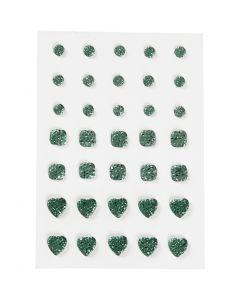 Rhinsten, rund, firkant, hjerte, str. 6+8+10 mm, grøn, 35 stk./ 1 pk.