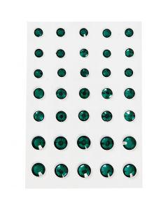 Rhinsten, rund kegle, str. 6+8+10 mm, grøn, 35 stk./ 1 pk.