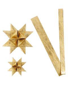 Stjernestrimler, L: 44+78 cm, diam. 6,5+11,5 cm, B: 15+25 mm, guld, 32 strimler/ 1 pk.